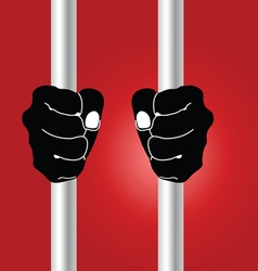 hand holding prison bars on red vector image