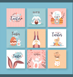 Happy easter cute rabbit spring flower card set vector