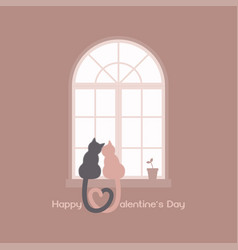 heart shaped tails cat couple vector image