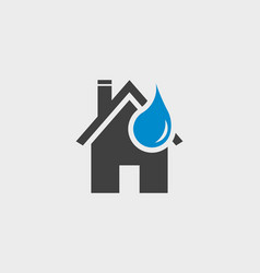 home and water droplet icon vector image