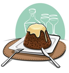 Homemade pudding vector