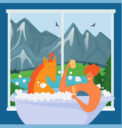 Horse takes bath with character at window vector