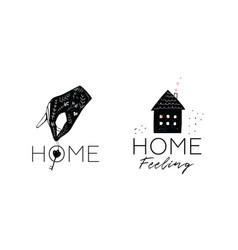 house and hand holding key logotype design vector image