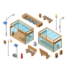 Isometric bus stop concept objects set vector
