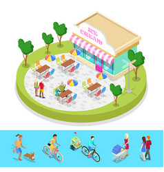 isometric city park composition with cafe vector image