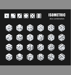 isometric dice set isometric dice combination vector image