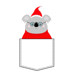 koala face head red santa hat sweater glasses vector image