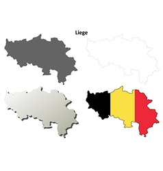 Liege outline map set - Belgian version vector