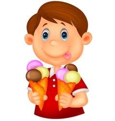 Little boy cartoon with ice cream vector image