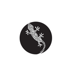 lizard chameleon gecko silhouette black vector image