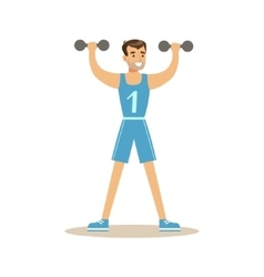 Man With Dumbbells Member Of The Fitness Club vector