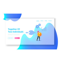 Merger and acquisition landing page template tiny vector
