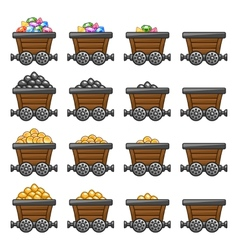 Mine cart set gold sone coins diamonds vector