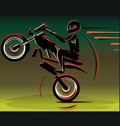 Motocross drivers silhouette motorbike motorcycle vector