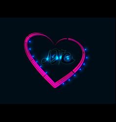 neon bright heart vector image
