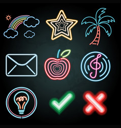 Neon light decoration with different items vector