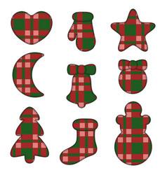 new year symbols felt toys made of fabric tartan vector image