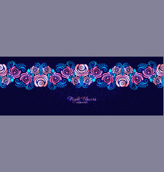 night roses neon magenta floral seamless vector image