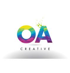 oa o a colorful letter origami triangles design vector image