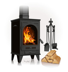 old metal fireplace vector image