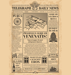 Old newspaper template retro newsprint vector