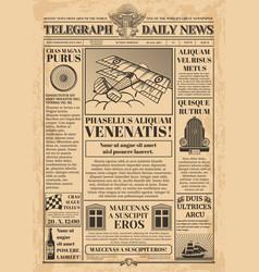 old newspaper template retro newsprint vector image