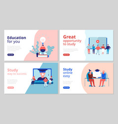 Online education concept banners vector