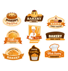 Pastry dessert cakes patisserie bakery shop signs vector