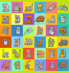 Pattern design with cats cartoon characters vector