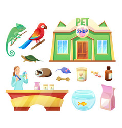 pet shop animals and products to take care them vector image