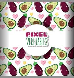 pixel vegetables background vector image