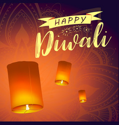 Post card for diwali festival with realistic sky vector