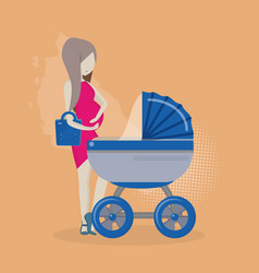 Pregnant woman with a stroller vector