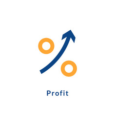 Profit growth icon chart arrow profit up success vector