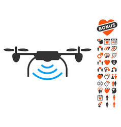 Radio transmitter airdrone icon with lovely bonus vector