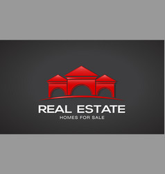 red real estate houses logo design vector image