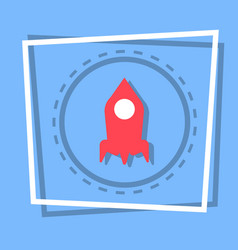 Rocket icon stat up web button vector