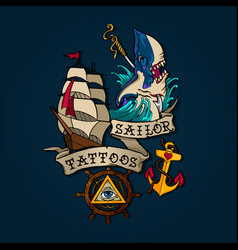 Sailor tattoo set vector