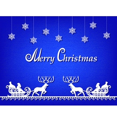 santa claus paper silhouette blue background vector image