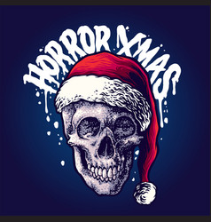 Santa skull christmas horror vector