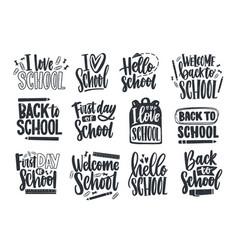set back to school lettering handwritten vector image