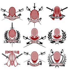 Set fencing club emblems templates rapira vector