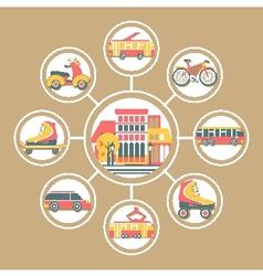 Set Flat Badges Urban Transport vector image
