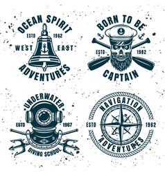 Set four maritime emblems or badges vector