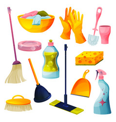 set home cleaning products housekeeping icons vector image