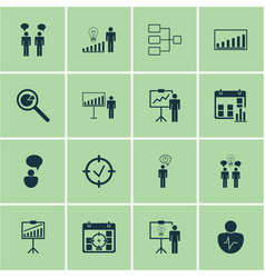 Set of 16 authority icons includes system vector