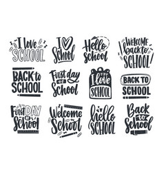 set of back to school lettering handwritten with vector image