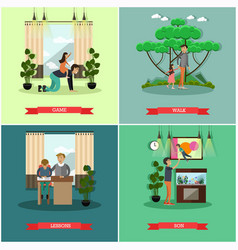 Set of father concept posters in flat style vector