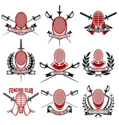 Set of fencing club emblems templates rapira vector