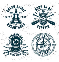 Set of four maritime emblems or badges vector